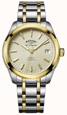 Rotary Womens Legacy Automatic Two Tone Stainless Steel Gold Dial LB90166/03