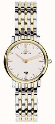 Michel Herbelin Womans Two Tone Strap White Index Dial 16945/BT11