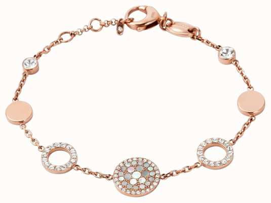 Fossil Womens PVD Rose Gold Plated Stone Set Bracelet JF01739791