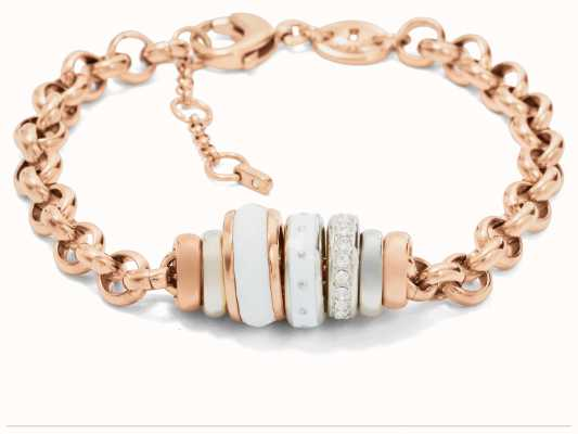 Fossil Womens PVD Rose Gold Plated Bead Bracelet JF01121998