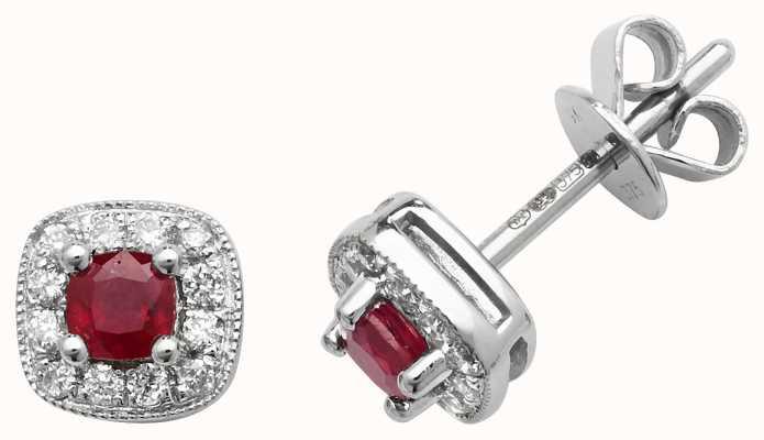 Treasure House 9k White Gold Diamond Ruby Cushion Stud Earrings ED252WR