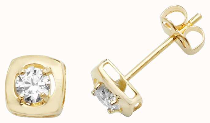 Treasure House 9k Yellow Gold Cubic Zirconia Square Stud Earrings ES471