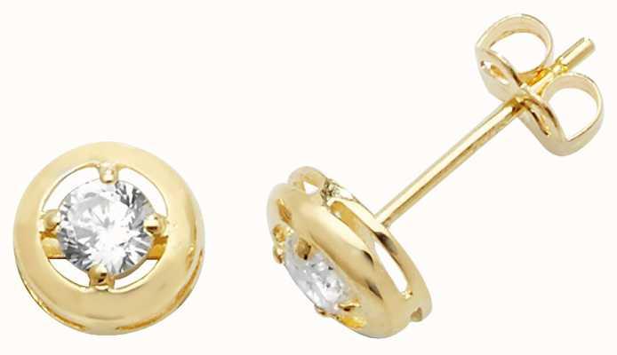 Treasure House 9k Yellow Gold Cubic Zirconia Stud Earrings ES472