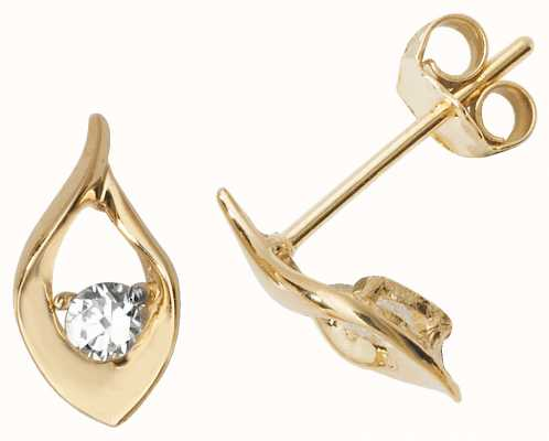 Treasure House 9k Yellow Gold Cubic Zirconia Teardrop Shaped Stud Earrings ES487