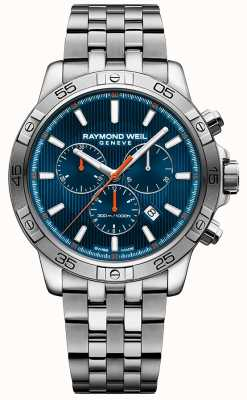 Raymond Weil Mens Tango 43mm Blue Chronograph Dial Stainless Steel 8560-ST2-50001