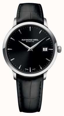 Raymond Weil Mens Slim Black Black Leather 5488-STC-20001