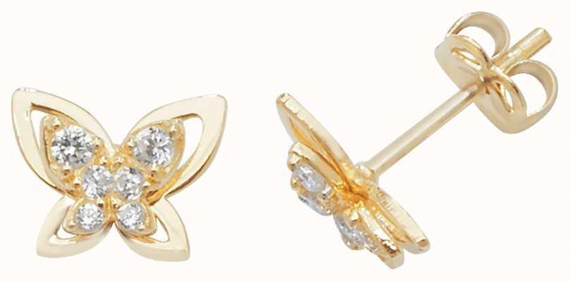 Treasure House 9K Yellow Gold Cubic Zirconia Stud Earrings ES446