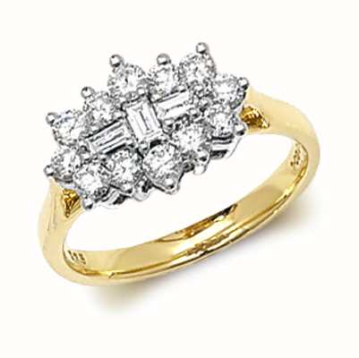 Treasure House 9k Yellow Gold 1ct Diamond Cluster Ring RD315