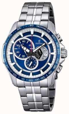 Festina Mens Chronograph Stainless Steel Bracelet Blue Dial F6850/2
