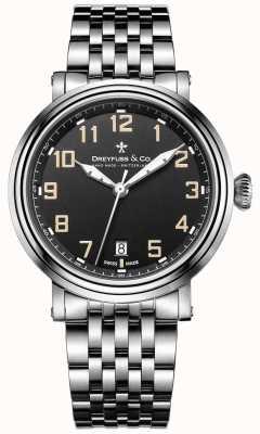 Dreyfuss Dreyfuss Stainless Steel 1924 Bracelet Black Dial DGB00152/19