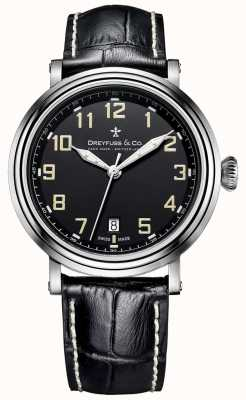 Dreyfuss Dreyfuss Stainless Steel Men's 1924 Black Leather Strap DGS00152/19