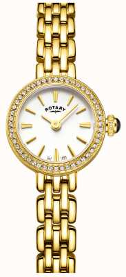Rotary Womans Gold Plated Stone Set Cocktail Watch LB05053/02