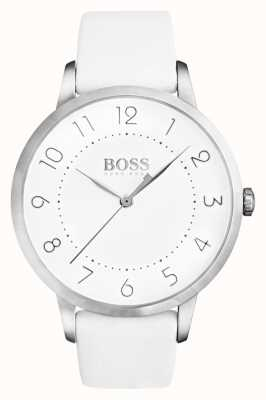 Hugo Boss Womens Eclipse White Leather Strap White Dial 1502409