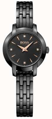 Boss Womens Success Black Plated Steel Bracelet Black Dial 1502387
