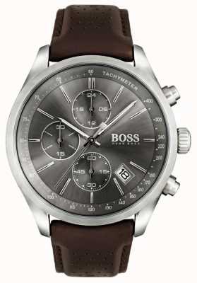 Boss Mens Grand Prix Brown Leather Strap Grey Dial 1513476