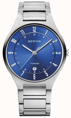 Bering Mens Titanium Grey Strap Blue Dialwatch 11739-707