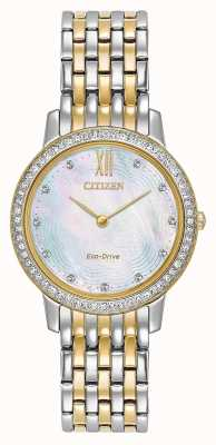 Citizen Womans Eco-Drive Silhouette Crystal   Two-Tone Gold/Silver   EX1484-57D