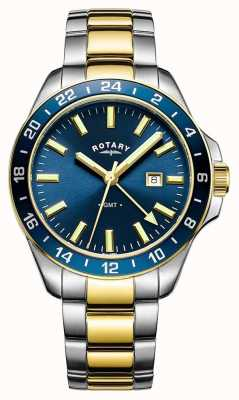Rotary Mens Havana GMT Two Tone Blue GB05082/05