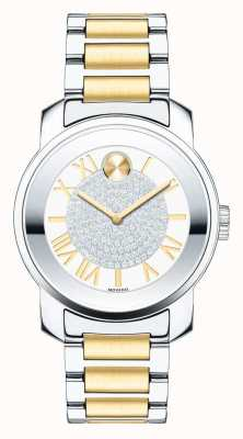 Movado bold Midsize Luxe Two Tone Silver Gold K1 Crystal 3600256