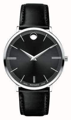 Movado Men's Ultra Slim Stainless Steel Black Dial 0607086