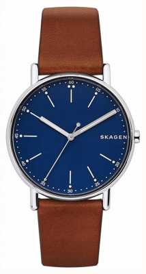 Skagen Mens Signature Brown Leather Strap Blue Dial SKW6355