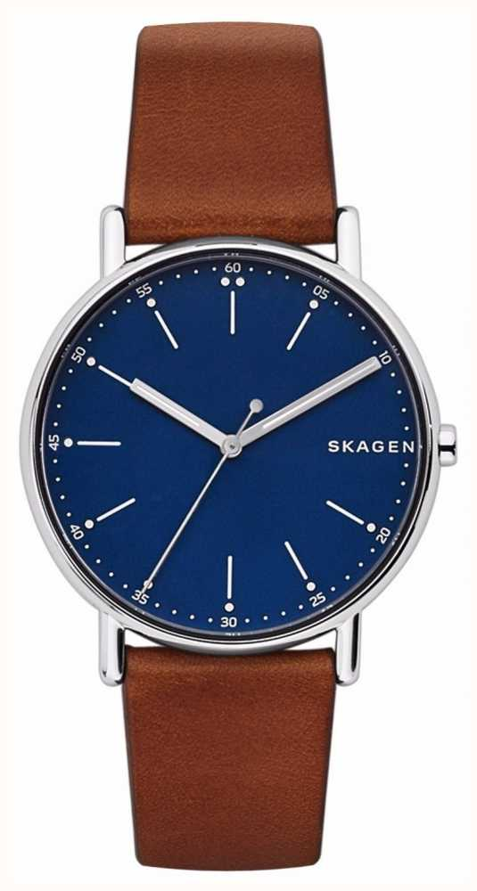 15ba5ea29fa7a Skagen Mens Signature Brown Leather Strap Blue Dial SKW6355 - First ...