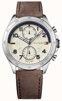 Tommy Hilfiger Men's Cream Dial Leather Strap 1791344