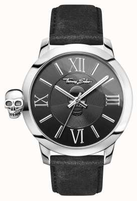 Thomas Sabo Mens Rebel With Karma Stainless Steel Black Leather WA0296-218-203-46