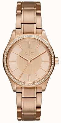 Armani Exchange Womans Steel Rose Gold Dress Watch AX5442