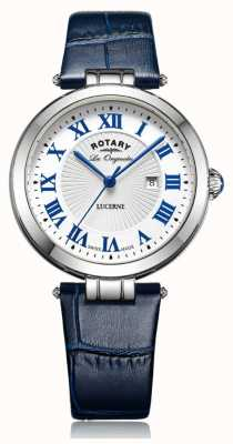 Rotary Womens Lucerne Blue Leather Strap White Dial LS90197/01L