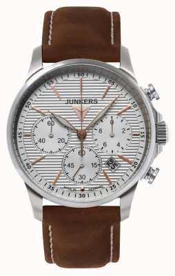 Junkers Mens Tante JU Chronograph Brown Leather Strap Silver Dial 6878-4