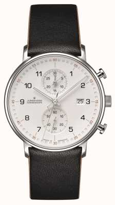 Junghans FORM C Chronoscope Calfskin Black Strap with Numbers 041/4771.00