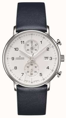 Junghans FORM C Chronoscope Calfskin Blue Strap with Numbers 041/4775.00