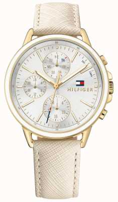 Tommy Hilfiger Women's Carly White Leather Strap White Dial 1781790