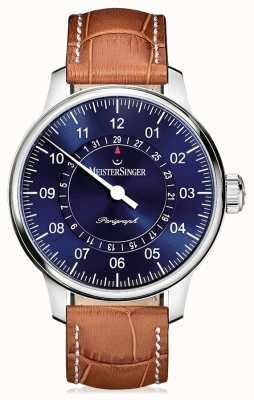 MeisterSinger Mens Classic Plus Perigraph Brown Leather Strap Blue Dial AM1008