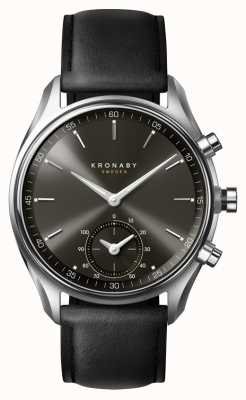 Kronaby 43mm SEKEL Bluetooth Black Dial/Leather Strap Smartwatch A1000-0718