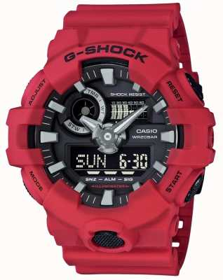 Casio Mens G-shock Red Alarm Chronograph GA-700-4AER