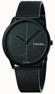 Calvin Klein Mens Minimal Black Stainless Steel Mesh Bracelet K3M514B1