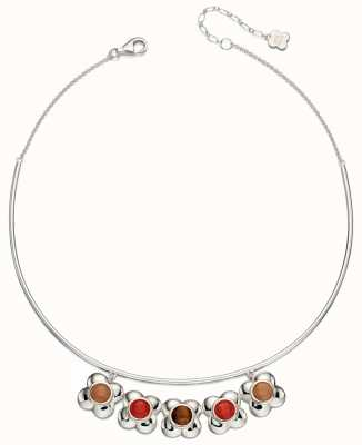 Orla Kiely Womans Sterling Silver Flower Choker Necklace N4043