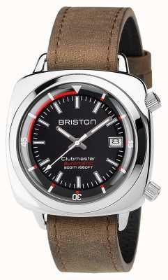 Briston Unisex Clubmaster Diver Brushed Steel Leather Auto Black 17642.PS.D.1.LVBR