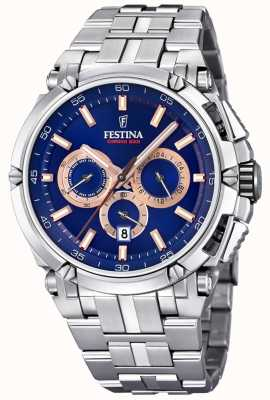 Festina Mens Chronobike 2017 Stainless Steel Blue Rose Gold Chrono F20327/4