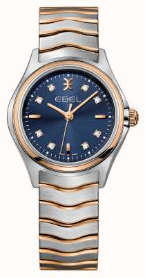 EBEL Wave Womens Two-tone Blue Dial Watch 1216379