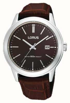 Lorus Mens Brown Leather Strap watch 38m RH925BX9