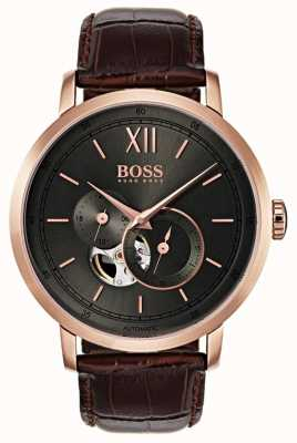 Hugo Boss Mens Signature Automatic Brown Leather Watch 1513506