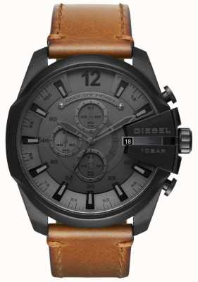 Diesel Mens Mega Chief Watch Black Dial Brown Leather Strap DZ4463