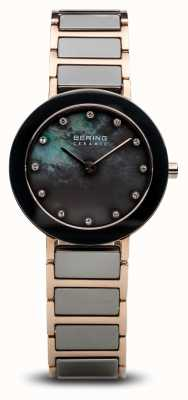 Bering Womans Ceramic Black And Rose Gold 11429-769