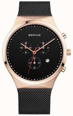 Bering Mens Classic Black Chronograph Black Milanese Strap 14740-166