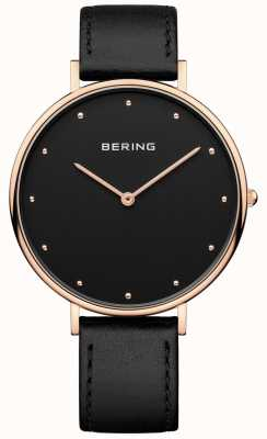 Bering Womans Classic Black Leather Strap Watch 14839-462