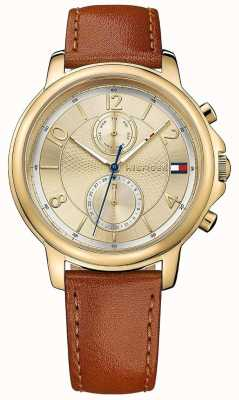 Tommy Hilfiger Womens Claudia Biscotto Leather Watch 1781818
