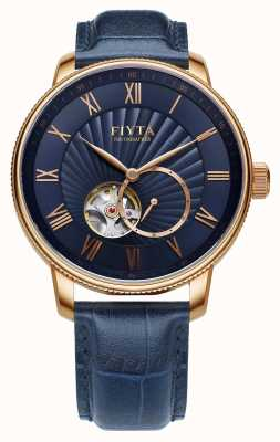 FIYTA Mens Photographer Blue Leather Auto Watch GA860015.PLL